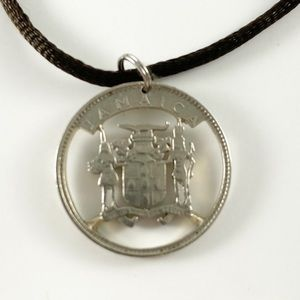Jamaica Souvenir, 10 CENTS Cut Coin Necklace 12""